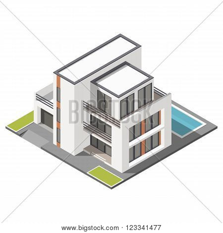 Modern three storey house with flat roof sometric icon set vector graphic