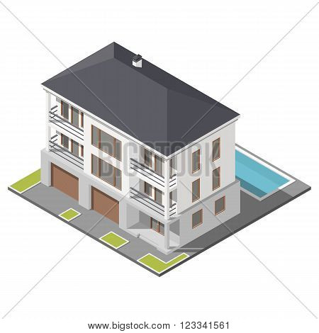 Modern three storey house with slant roof sometric icon set vector graphic