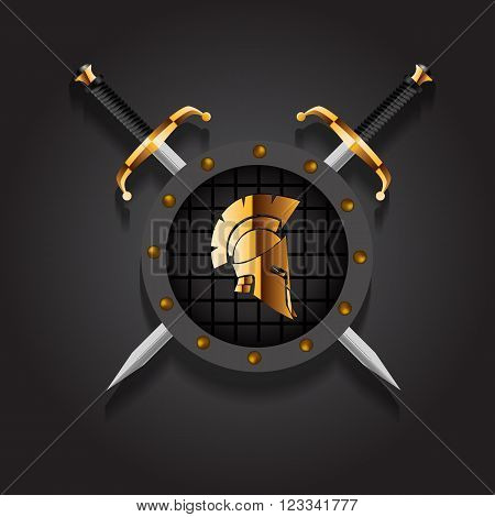Antiques Roman or Greek helmet for head protection soldiers with two sword and board vector illustration eps 10