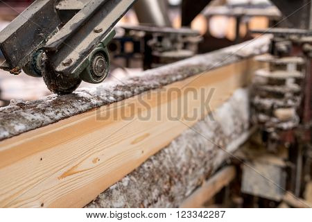 At sawmill. Image of cut wood using machine, close-up ** Note: Visible grain at 100%, best at smaller sizes