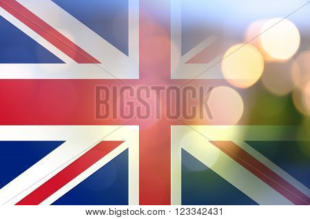 Flag of United Kingdom with blurred lights.