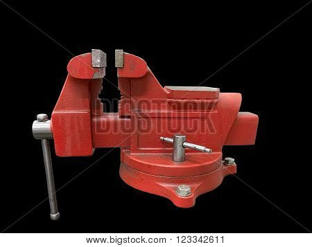 Red table vise isolated on black background