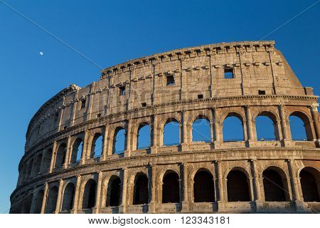 Exterior of the Colosseum, Rome, taken in the evening