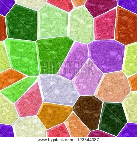 full color marble irregular plastic stony mosaic seamless pattern texture background with white grout