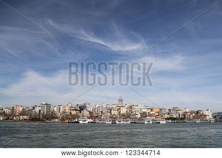 Karakoy and Galata Tower in Istanbul City, Turkey ** Note: Soft Focus at 100%, best at smaller sizes