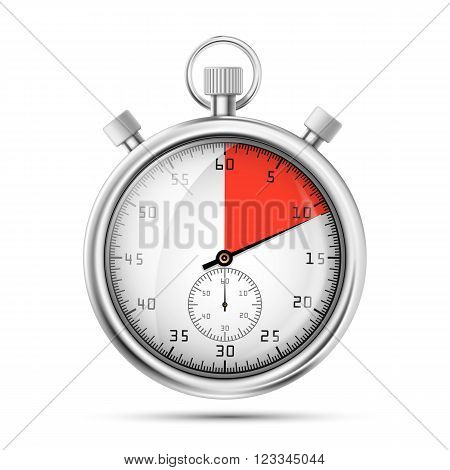 Realistic image of a sports stopwatch. Symbol competition. Icon isolated on white background. Stock vector illustration.