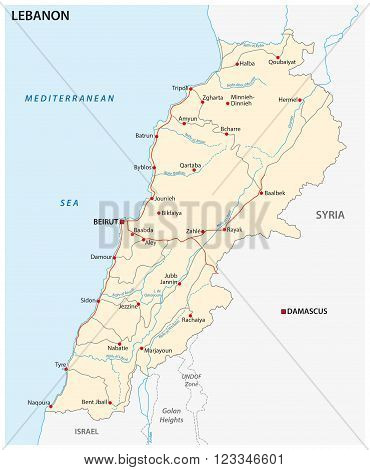 a detailed road map of lebanon country