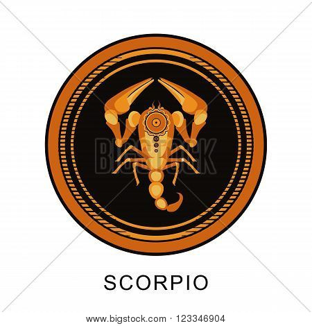 vector illustration zodiac sign of Scorpio in round frame on a black background isolated