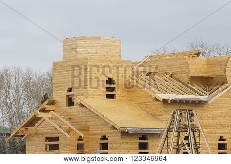 Berdsk Novosibirsk region, Siberia, Russia - March 27, 2016: the construction of an Orthodox Church of the Epiphany of timber.