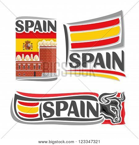 Vector illustration of the logo for Spain, consisting of 3 isolated illustrations: flag on the background of the Salvador Dalí Museum, symbol of Spain and the flag on background of of a bull's head