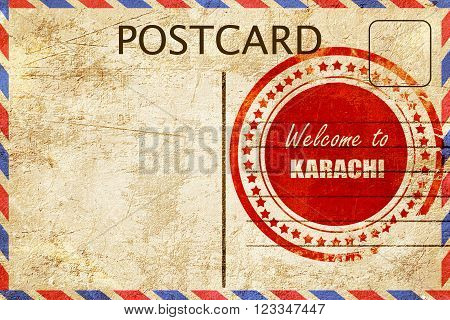 Vintage postcard Welcome to karachi with some smooth lines