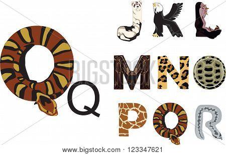 funny alphabet with the theme of wild animals