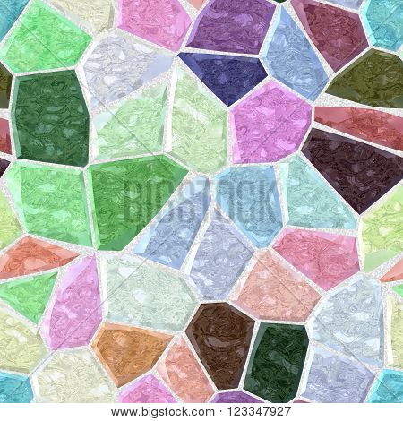 pastel full color marble irregular plastic stony mosaic seamless pattern texture background with gray grout