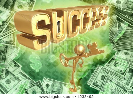 3D Key To Success Concept