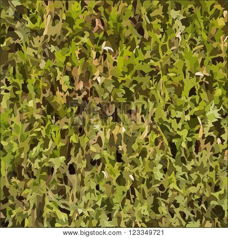 Natural dry green hedgerow vector texture illustration