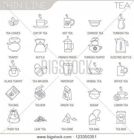 Thin line tea vector interface icon set.