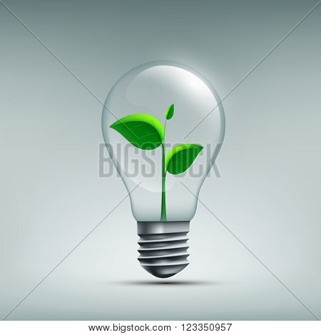 Icon Plant with leaves growing in a bulb. Recycling waste. Renewable energy sources. Stock vector illustration.