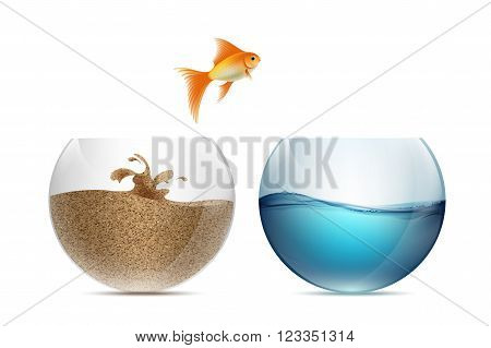Gold fish jumping out of the aquarium. Aquariums with sand and water. Stock vector illustration.