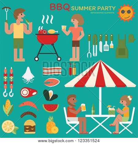 Barbecue summer party infographic flat design. Activity in summer BBQ with friends, family.