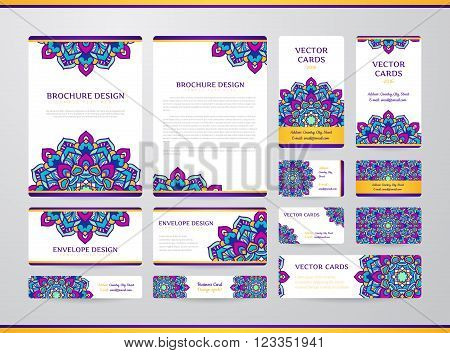 Business cards with mandala. Vector template, tribal theme. Vintage business cards, envelope and brochure collection.