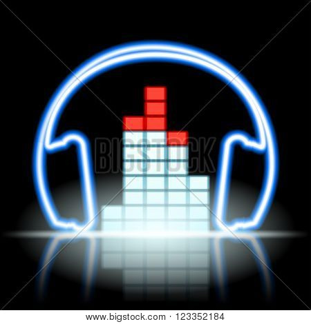Neon icon musical equalizer and headphones. Stock vector illustration.