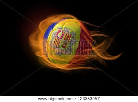 Soccer ball with the national flag of Andorra on fire, 3D Illustration
