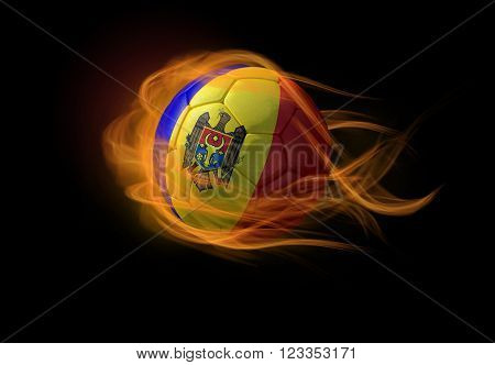 Soccer ball with the national flag of Moldova on fire, 3D Illustration