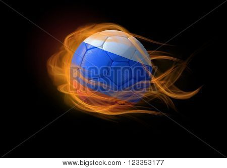 Soccer ball with the national flag of Russia on fire, 3D Illustration
