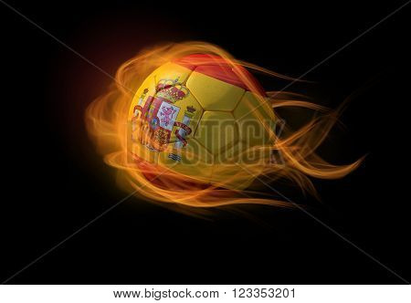 Soccer ball with the national flag of Spain on fire, 3D Illustration