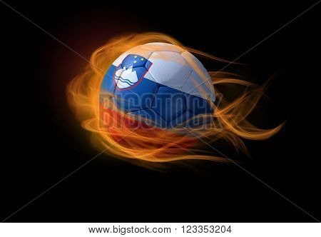 Soccer ball with the national flag of Slovenia on fire