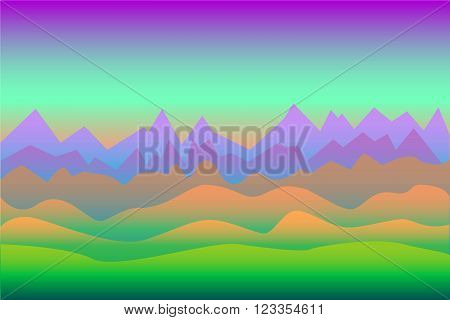 Neon colors surrealistic landscape vector background with mountains, with the space for text