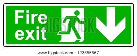 A view of a Fire exit down sign