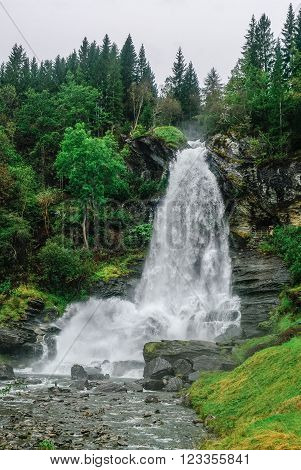 Norway, Hordaland County. Famous Steinsdalsfossen Waterfall. Scandinavian Nature.