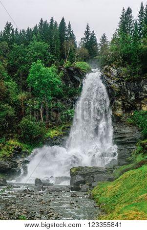 Norway, Hordaland County. Famous Steinsdalsfossen Waterfall. Scandinavian Nature.