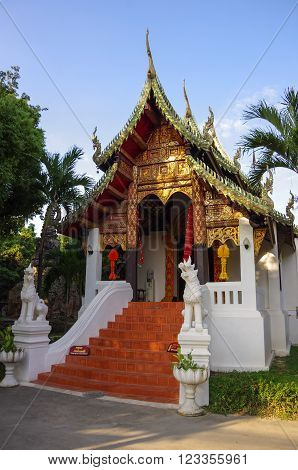 Small Buddhist Temple In Old City Of Chiang Mai, Thailand