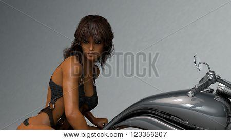 3D illustration of sexy biker girl posing on chopper bike