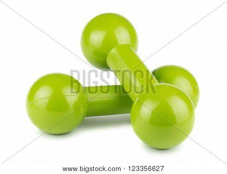 Pair of green dumbbells for fitness on white background
