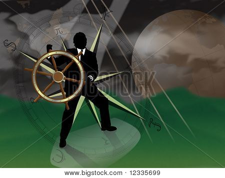 Representative of turmoil in world currencies.  Businessman/banker/broker at sea trying to navigate a storm with international currencies compass and world globe in background. : Bigstock