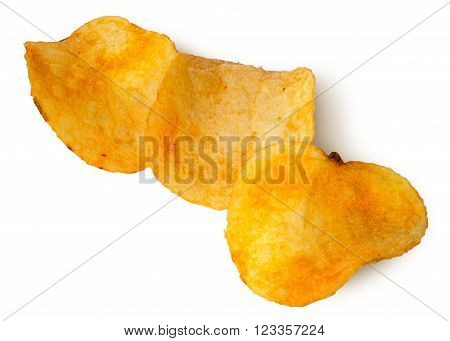 Three pieces of potato chips in a row isolated on white background