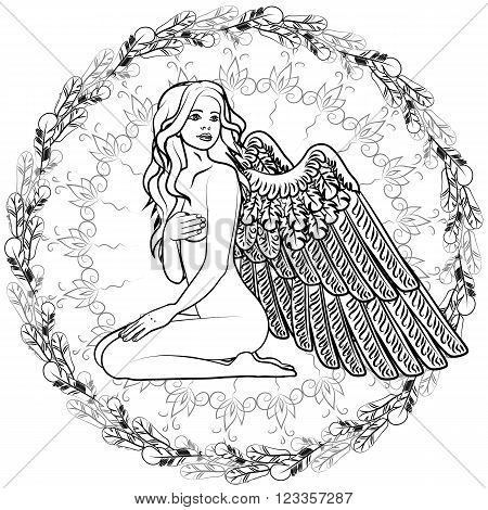 Anti-stress and relaxing coloring book for adults filled with intricate patterns. Black and white hand drawn illustration in vector design.