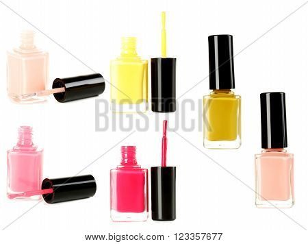 Bottle of nail polish isolated on a white collage