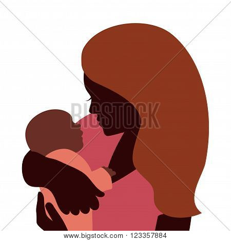 Mother embracing her newborn baby, isolated silhouettes
