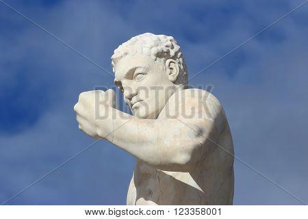 ROME ITALY - FEBRUARY 9 2016: Boxer statue in the Stadio dei Marmi Stadium of the Marbles in the Foro Italico designed in the 1920s by Enrico Del Debbio