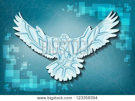 Ice eagle vector illustration on frozen background