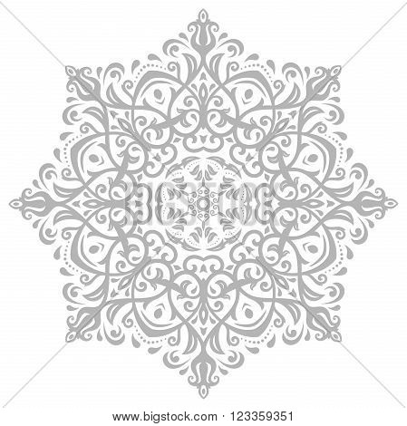Oriental vector light gray round pattern with arabesques and floral elements. Traditional classic ornament