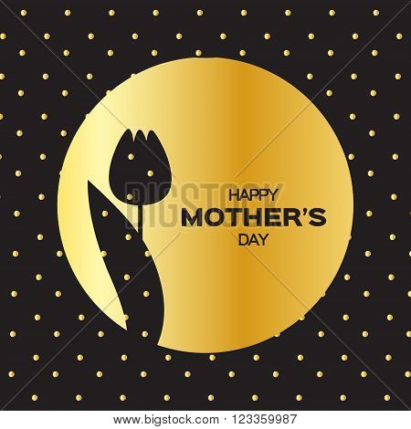 Golden foil Floral Greeting card - Happy Mother's Day - Gold Sparkles holiday background with with Spring Tulip. Paper cut Frame Flowers.Trendy Design Template for card vip gift voucher present.
