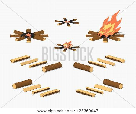 Campfire and firewood. 3D lowpoly isometric vector illustration. The set of objects isolated against the white background and shown from different sides