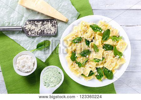 italian ravioli filling with ricotta cheese and spinach close-up
