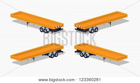 Yellow open platform. 3D lowpoly isometric vector illustration. The set of objects isolated against the white background and shown from different sides