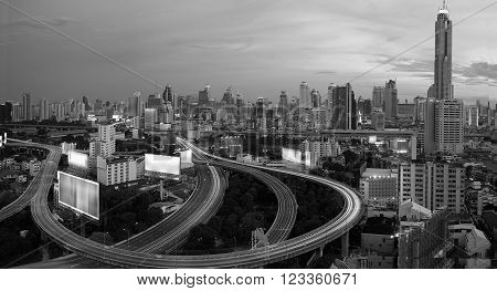 City elevated highway BKK  in Thailand . ** Note: Soft Focus at 100%, best at smaller sizes